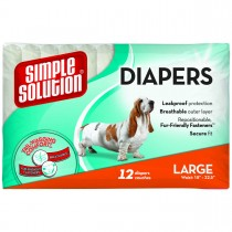 Simple Solution Disposable Dog Diapers 12 pack Large White