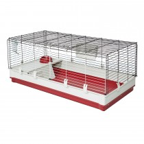 "Midwest Wabbitat Deluxe Extra Long Rabbit Home White, Red 47.24"" x 23.62"" x 19.68"""