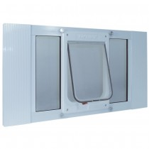 "Ideal Pet Products Aluminum Sash ChubbyKat Flap Pet Door Medium White 1.25"" x 15.06"" x 27"""