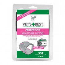 """Vet's Best Perfect-Fit Washable Female Dog Diaper 1 pack Small / Medium Gray 5.44"""" x 1.75"""" x 7.75"""""""