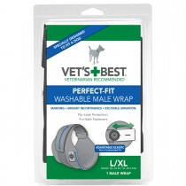 """Vet's Best Perfect-Fit Washable Male Wrap 1 pack Large / Extra Large Black 6"""" x 2.13"""" x 9"""""""
