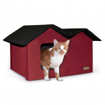 K&H Pet Products Outdoor Kitty House Extra-Wide Unheated Red 21.5'' x 14'' x 13''