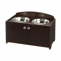 """Richell Elegant Wooden Pet Feeder Large Dark Brown 23.8"""" x 13.4"""" x 15.4"""""""