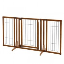 "Richell Premium Plus Freestanding Pet Gate with Door Brown 34 - 63"" x 26 - 20.5"" x 32"" - R94193"