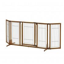 "Richell Wide Premium Plus Freestanding Pet Gate with Door Brown 55.1"" - 84.3"" x 20.5"" - 26"" x 32"" - R94904"