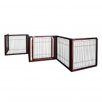 "Richell Convertible Elite Freestanding Pet Gate 6-Panel Cherry Brown 135.8"" x 29.1"" x 31.5"""